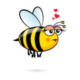 Cartoon Bee. Illustration of a Friendly Cute Female Bee in Love Stock Photos