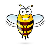 Cartoon Bee. Illustration of a Friendly Cute Bee with Smile Royalty Free Stock Photos