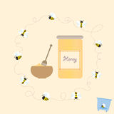 Cartoon Bee Jar Honey Retro Healthy Natural Vector Stock Photography