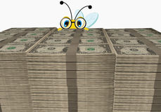 Cartoon Bee looking behind the dollar stack Royalty Free Stock Photos