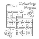 Cartoon Bee Maze Game. Vector coloring book pages for children stock illustration