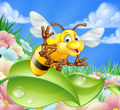Cartoon Bee in Meadow Stock Photos