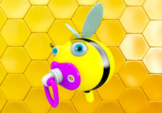 Cartoon Bee with pacifier Stock Photos