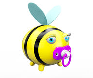 Cartoon Bee with pacifier Stock Image