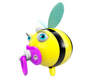 Cartoon Bee with pacifier Stock Photo