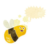 Cartoon bee with speech bubble Royalty Free Stock Photo