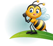 Cartoon bee standing on a leaf Royalty Free Stock Images