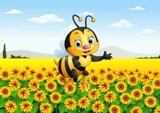 Cartoon bee in the sunflower field Royalty Free Stock Photo