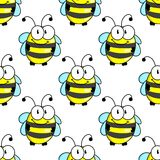 Cartoon bee with tiny wings seamless pattern Royalty Free Stock Photography