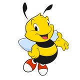 Cartoon Bee. Vector illustration of a cartoon bee with red shoes Royalty Free Stock Images