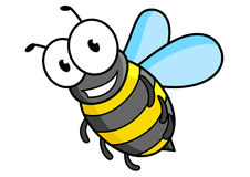 Cartoon bee or wasp character. With striped tummy and funny eyes Royalty Free Stock Photography