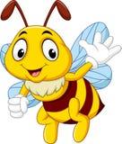 Cartoon bee waving hand. Illustration of cartoon bee waving hand isolated on white background vector illustration