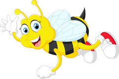 Cartoon bee waving hand isolated on white background Royalty Free Stock Image