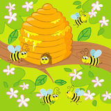 Cartoon beehive. Funny beehive on a tree with flying happy bees stock illustration