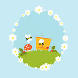 Cartoon beehive honey bees flowers fruits vintage Royalty Free Stock Photos