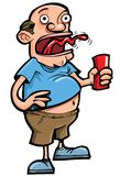 Cartoon of beer drinker belching. Isolated on white Royalty Free Stock Photography