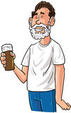 Cartoon beer drinker with Santa beard Royalty Free Stock Photos