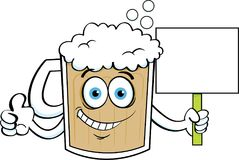 Cartoon beer mug giving thumbs up while holding a sign. Royalty Free Stock Photo