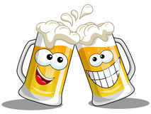 Cartoon beer mugs cheers. Cartoon beer mug making cheers  on white Stock Image