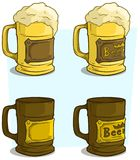 Cartoon beer mugs with label vector icon set Royalty Free Stock Photography