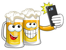 Cartoon beer mugs selfie smartphone  Royalty Free Stock Image