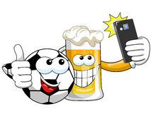 Cartoon beer spccer ball taking selfie smartphone isolated Royalty Free Stock Photos