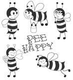 Cartoon Bees black vector illustration set Royalty Free Stock Photos