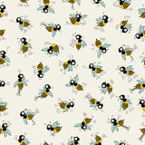 Cartoon bees dancing. Cartoon bees characters dancing, seamless pattern design royalty free illustration