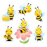 Cartoon bees. Funny illustrations of characters isolate stock illustration