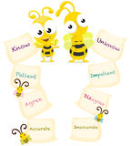 Cartoon bees with opposite words. Illustration of isolated cartoon bees with english opposite words Royalty Free Stock Image