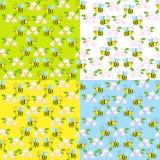 Cartoon bees  pattern Stock Photo