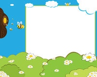 Cartoon bees photo frame. Photo frame a funny cartoon scene with happy bees reaching flowers and carrying honey to the honeycomb Royalty Free Stock Photography