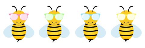 Free Cartoon Bees Set In Colorful Glasses. Cut Bee Wearing Sunglasses Collection. Stock Photography - 190372682