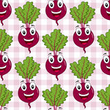 Cartoon Beet or Chard Seamless Pattern. A seamless pattern with a cartoon happy beet or chard character smiling, on a checkered picnic tablecloth background Royalty Free Stock Images