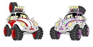 Cartoon beetle cars Royalty Free Stock Images