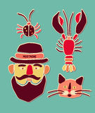Cartoon beetle, crayfish, cat and man with mustache. Vector illustration. Royalty Free Stock Photos