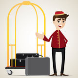 Cartoon bell boy with trolley and bag Stock Image