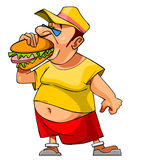 Cartoon bellied man eats a hamburger Royalty Free Stock Photos