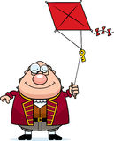 Cartoon Ben Franklin Kite. A cartoon illustration of Ben Franklin flying a kite Royalty Free Stock Image