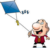 Cartoon Ben Franklin Kite. An illustration of a cartoon Ben Franklin flying a kite with a key stock illustration