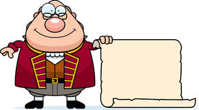 Cartoon Ben Franklin Parchment. A cartoon illustration of Ben Franklin with a piece of parchment paper Stock Image