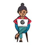 Cartoon beutiful girl using laptop sitting Royalty Free Stock Image
