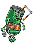 Cartoon beverage can with a straw Royalty Free Stock Photo