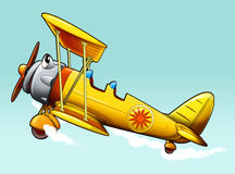Cartoon bi plane - caricature Royalty Free Stock Photos