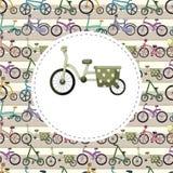 Cartoon bicycle card Stock Images