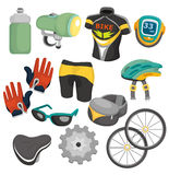 Cartoon bicycle equipment icon set. Drawing Royalty Free Stock Image