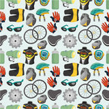Cartoon bicycle equipment seamless pattern Stock Photos