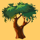 Cartoon bifurcated tree with green crown Royalty Free Stock Image