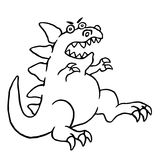 Cartoon big angry dinosaur. Vector illustration. royalty free stock image