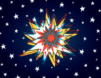 Cartoon big bang or colorful explosion in space Stock Images